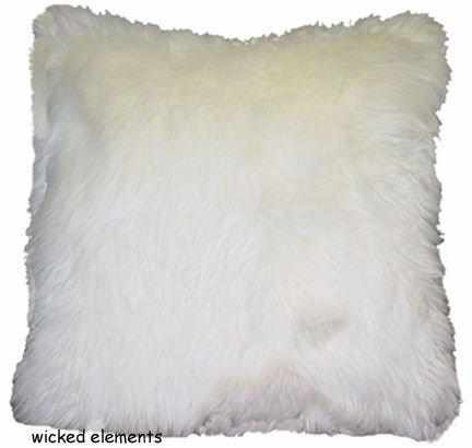 Pillow, Faux Fur, Cream, Large