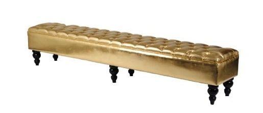 Tufted Upholstered Bench, Lounge Furniture, Gold