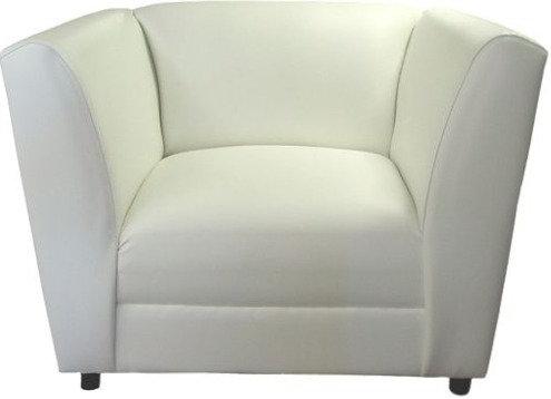 White Leatherette Lounge Angora Chair