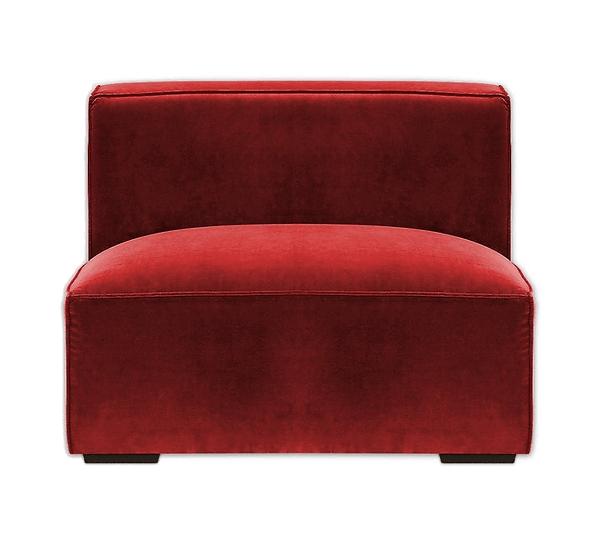 red armless modular sofa