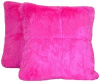 Hot Pink Faux Fur Pillow Set
