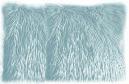 Light Blue Faux Fur Pillows