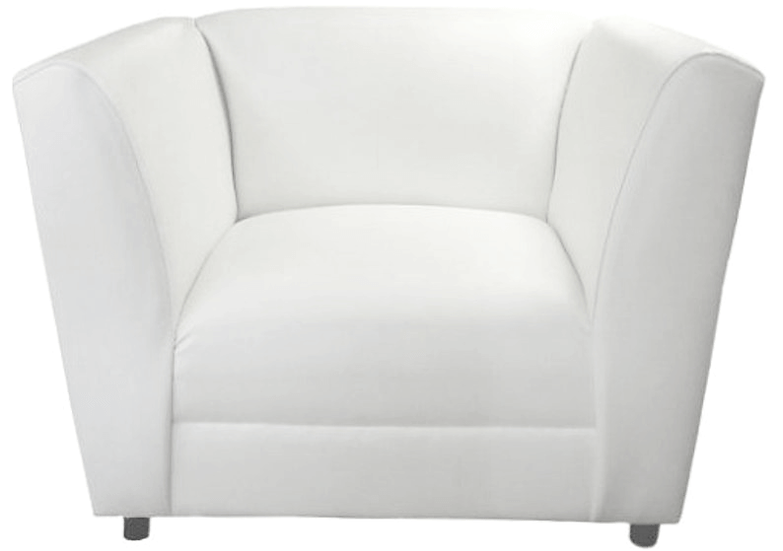 angora chair in white leather fabric