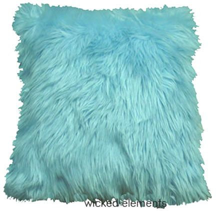 Faux Fur Pillow, Light Blue, Large