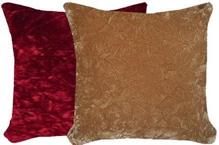 Burgundy & Caramel Crush Velvet Pillow Set