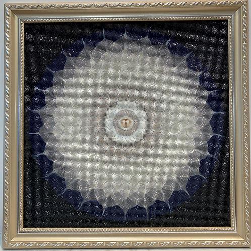 [鑽石畫] 黑白色葡提葉  60x60cm(包送貨)