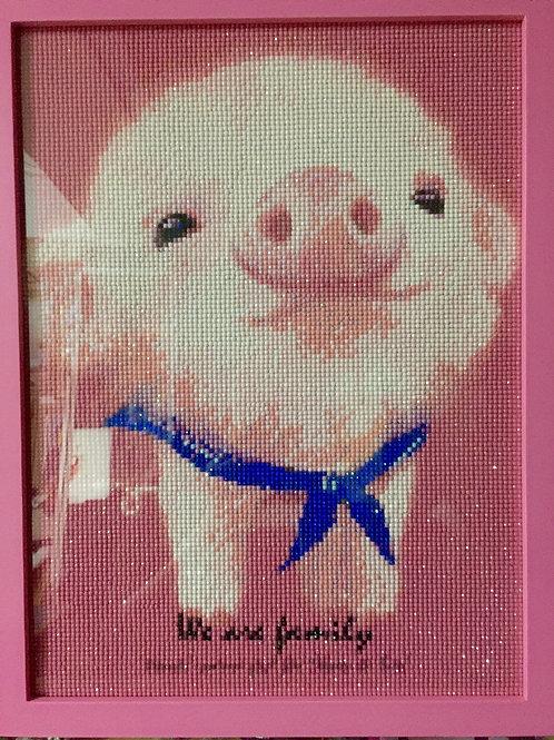 [鑽石畫] 粉紅小豬 34x44cm (包送貨)