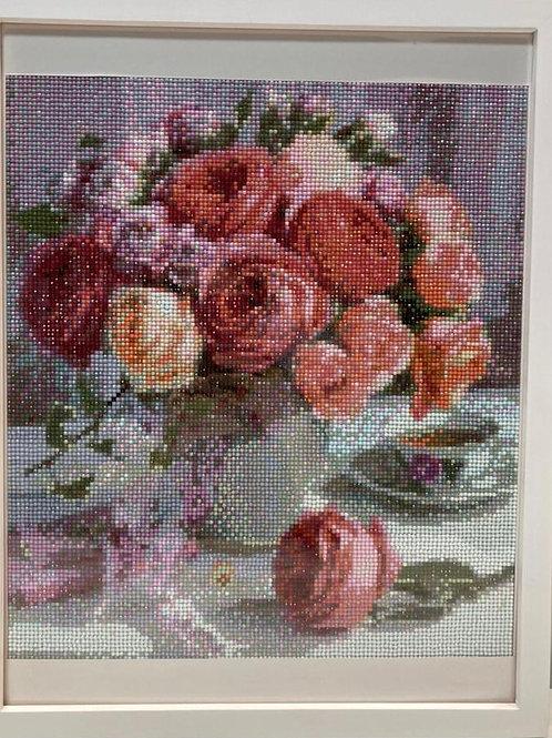 [鑽石畫] 餐桌上的玫瑰 40x50cm (包送貨)