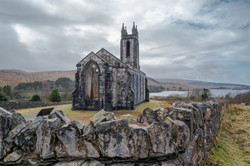 Dunlewey church ruins in the Poison Glen at Mount Errigal