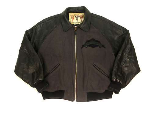 Avirex 'A' Leather Sleeved Jacket - XXL