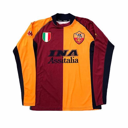Vintage AS Roma Kappa 2001/02 Home European Shirt - M
