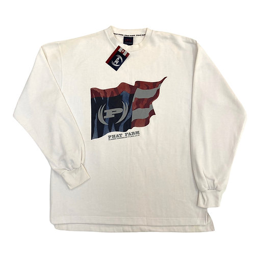 Early 2000s Phat Farm 'Flag' Lightweight White Sweatshirt - XL