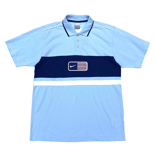 Vintage Deadstock Nike 2001 'USA Flag' Baby Blue Polo Shirt - M