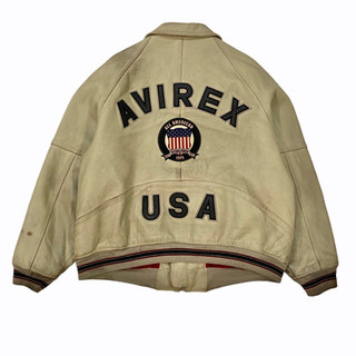 Avirex 'USA Spellout' Leather Jacket - Fits L/XL