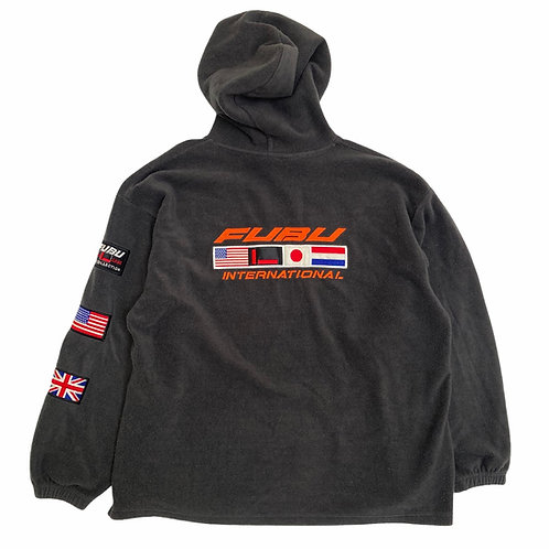 Vintage 90s Fubu 'International' Flag Fleece Hoodie - L