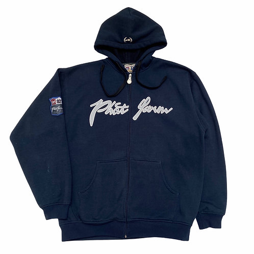 Early 2000s Phat Farm 'Spellout' Full Zip Navy Hoodie - XL