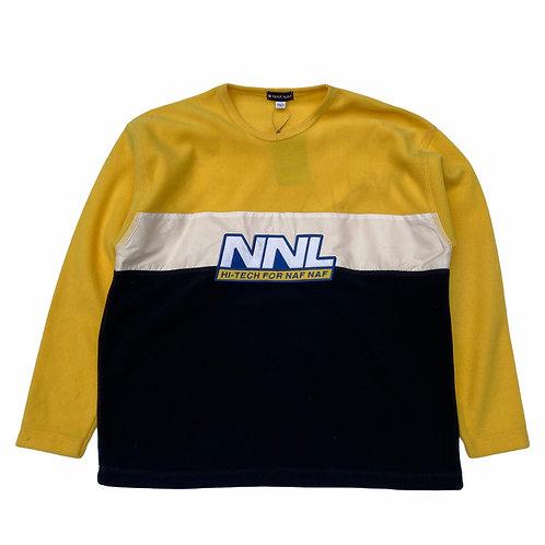 90s Naf Naf 'Hi-Tech' Contrasting Material Sweatshirt - S/M