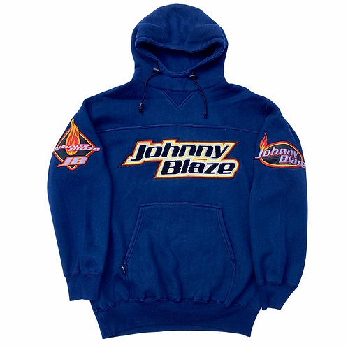 Late 90s Johnny Blaze '00' Heavyweight Spellout Hoody - Large