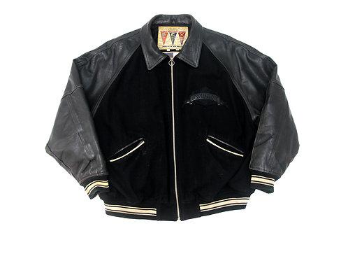 Avirex 'A' Leather Sleeved Jacket - XXXL