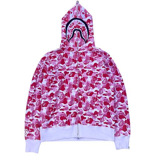 Fake Bape 'ABC Shark Full Zip' Pink Camo Hoody - Large