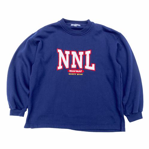 90s Naf Naf Spellout Navy Blue Sweatshirt - S/M