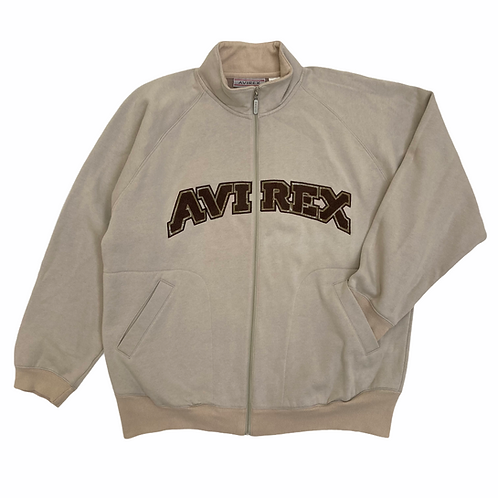 Vintage 90s Avirex Beige / Brown Full Zip Spellout Sweatshirt - XL