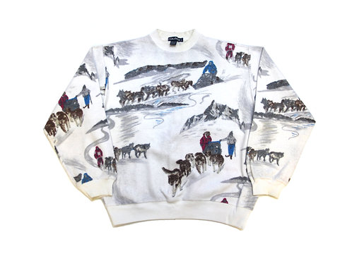Nautica 'Snow All Over Print' Fleece Sweatshirt 90s - L