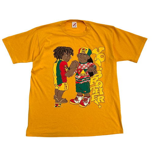 Early 90s 'Yo Brother!' Single Stich Mustard Yellow T-Shirt - L