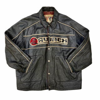 Avirex 'Silver Skates' Leather Jacket - Fits XXXL