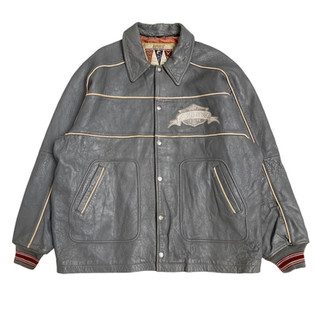 Avirex 'A - Spellout' Leather Jacket - Fits XXL