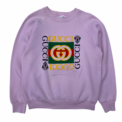 90s Bootleg 'Gucci' Pink Spellout Sweatshirt - XS/S