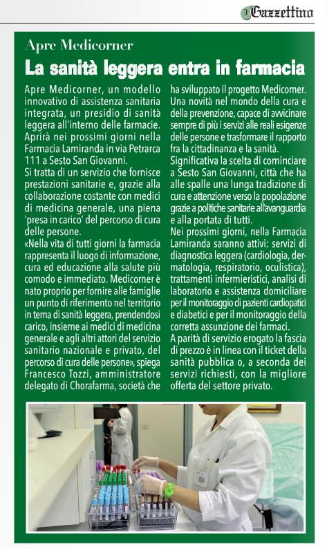 Redazionale Il Gazzettino Metropolitano_25 febbraio 2016_Medicorner Sesto San Giovanni