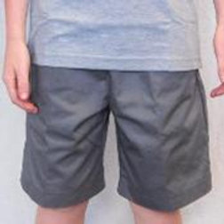 GREY DRILL SHORTS WITH ELASTIC WAIST