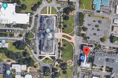 Map of the short distance Mullenix & Associates distance to the Arkansas State Capitol