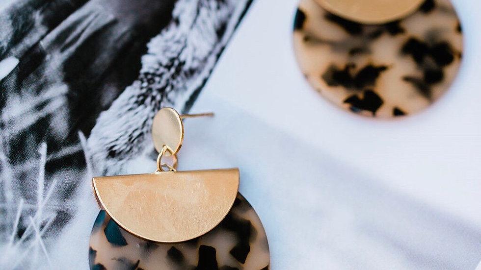 Brown Marble Round Earrings