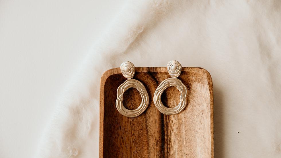 Gold Fancy Circle Drop Earrings