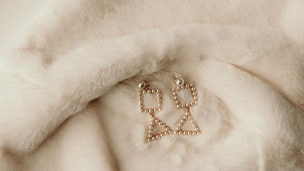 Pearl Square & Triangular Earrings