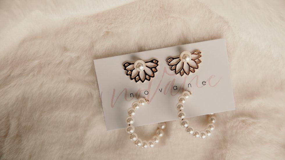 Pearl & Gold Hoop Earring Set