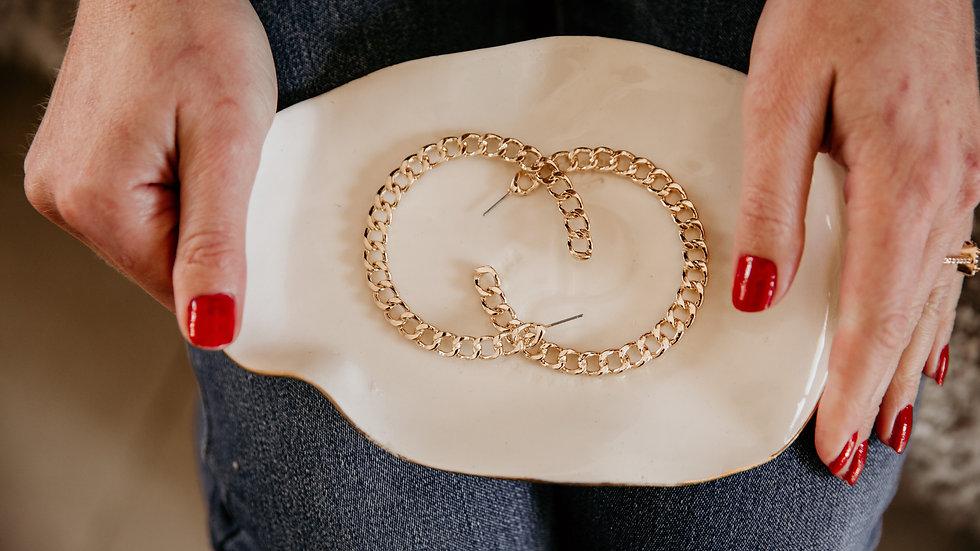 Gold Chain Cuff Hoop Earrings
