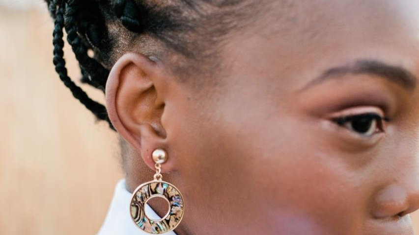 Gold Round Charm Earrings