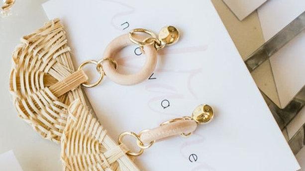 Brown & Gold Fan Raffia Earrings
