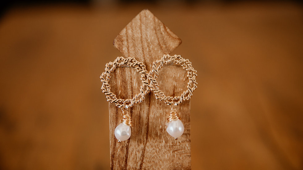 Gold Round Drop Pearl Earrings