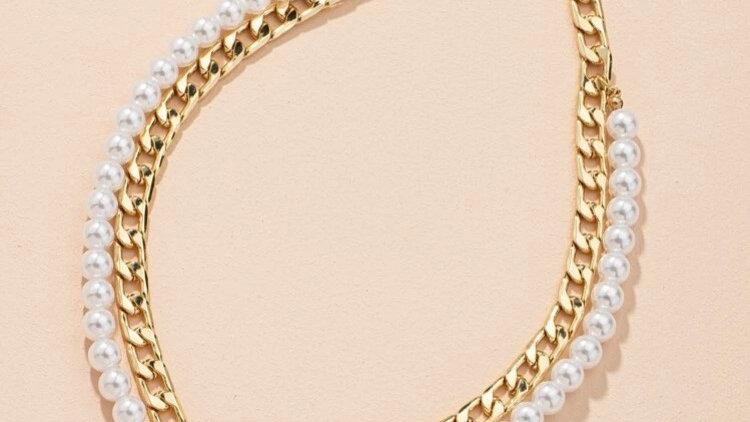 Coin Pearl & Gold chain