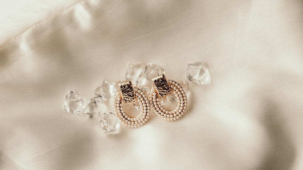 Metallic Gold & Pearl Fancy Earrings