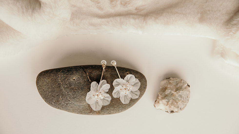 Pearl & White Flower Drop Earrings