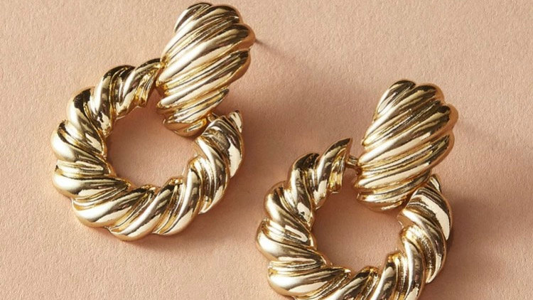 Gold Textured Earrings