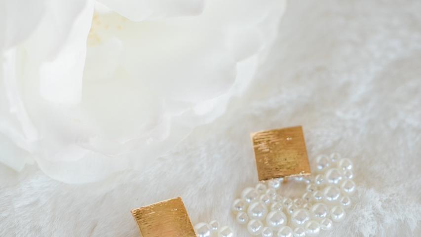 Gold & Pearl Half Moon Earrings
