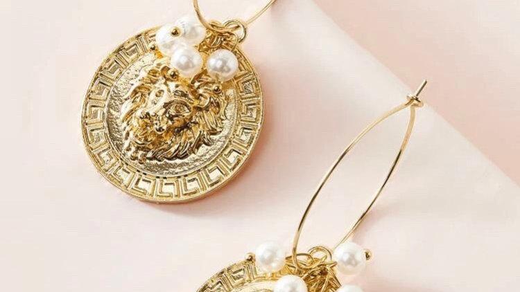 Lion Coin Earrings