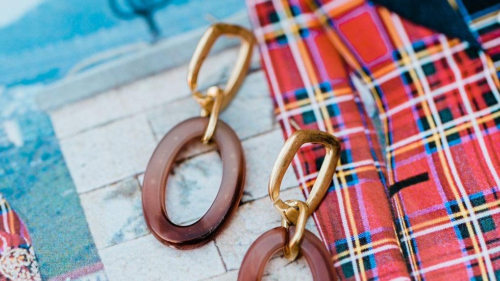 Gold & Brown Resin Earrings