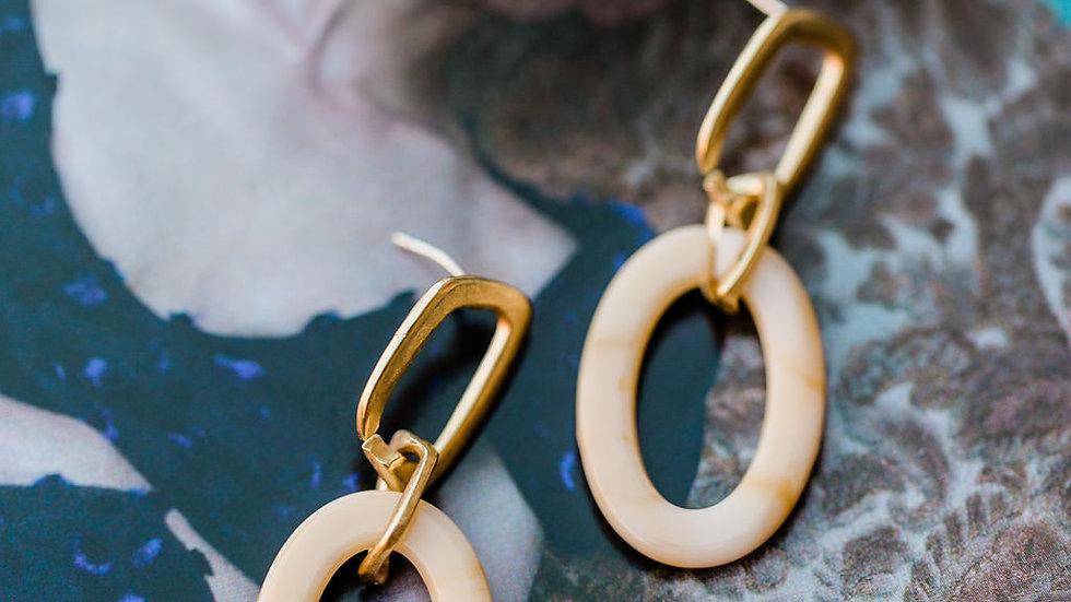 Gold & Beige Resin Earrings